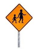 Warnende kreuzende Kinder - australisches Verkehrsschild Stockbild