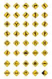Warnende Verkehrsschilder, Verkehrsschilder eingestellt Stockfotos