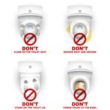 Warnenden die Toiletten-Schüssel-Wandschrank-gesetzten Regeln tun nicht Stockfotografie