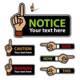 Warnender Zeigefinger und Zeigen der Handkennsätze Lizenzfreie Stockfotos
