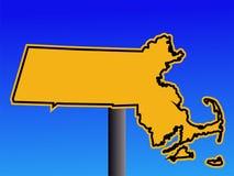 Warnendes Massachusetts-Zeichen Stockfoto