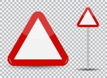 Warnendes Verkehrsschild auf transparentem Hintergrund Rot-Dreieck Auch im corel abgehobenen Betrag vektor abbildung