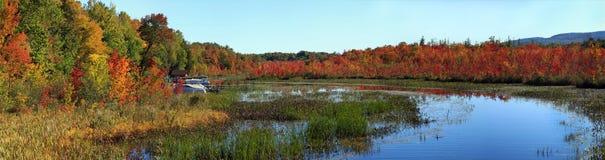 Warner Bay sjö George, NY, Adirondack delstatspark, i höst Royaltyfri Foto