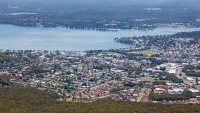 Warners Bay - Newcastle Australia. An aerial view looking south to Warner`s Bay on Lake Macquarie Newcastle Australia showing residential and commerical area royalty free stock image