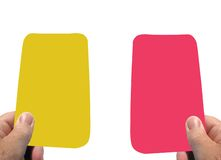 Warning. Yellow card and red card your sent off Royalty Free Stock Photo