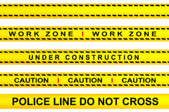 Warning. Yellow tape warning, work zone, under construction, police line and caution advertisements Stock Image
