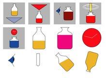 Warning. Scientific bottles with various warning symbols vector illustration