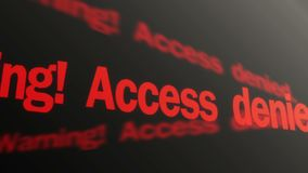 Warning, access denied red text running on display. Biometric control system. Stock footage stock illustration