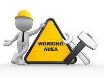 Warning area. 3d people - man, person with a wrench and a hammer. Warning area Royalty Free Stock Photography