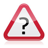 Warning attention red glossy sign with question mark Stock Photos