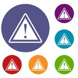 Warning attention sign with exclamation mark icons. Hazard warning attention sign with exclamation mark icons set in flat circle reb, blue and green color for Royalty Free Stock Photos
