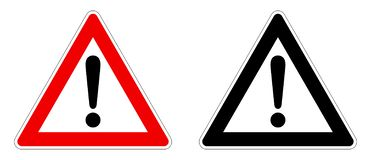 Free Warning / Attention Sign. Exclamation Mark In Triangle. Red / Black And White Version Royalty Free Stock Image - 134407286