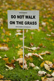 Warning in autumn park Royalty Free Stock Photo