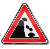 Warning avalanche and rockfall Stock Images