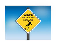 Warning: Backsliding Probable Road Sign Royalty Free Stock Photo