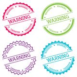 Warning badge isolated on white background. Flat style round label with text. Circular emblem vector illustration Stock Photos