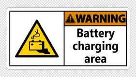 symbol Warning battery charging area Sign on transparent background stock illustration