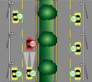 Warning traffic on the road. Warning be careful to drive the car to avoid danger in Rush hour vector illustration