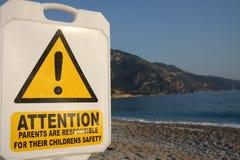 Warning on beach Royalty Free Stock Photo