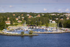 A warning beacon at coastline in the swedish archipelago outside of Stockholm. Stock Image