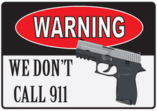 Warning about the beginning of shooting. Warning about the shooting. Pistol and street index Royalty Free Stock Image