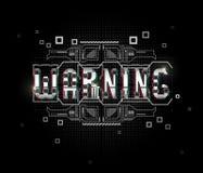 warning Begriffsplan mit HUD-Elementen für Druck und Netz Beschriftung mit futuristischen Benutzerschnittstellenelementen lizenzfreie abbildung
