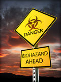 Warning bio hazard sign posted near the danger zone. Stock Images