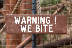 Warning We Bite Stock Photo