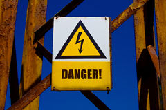 Warning board. Picture of warning board - DANGER Royalty Free Stock Images