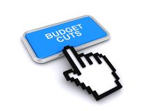 Warning budget cuts. Text 'budget cuts' inscribed  on a blue rectangle in white uppercase letters with an electronic finger pointing to the warning message Royalty Free Stock Image