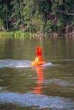 Warning buoy at the german river elbe Stock Images