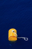 Warning buoy off the coast of Maine against a foggy background, Buoy on the sea for support supply boat. Stock Images