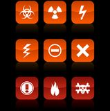 Warning  buttons. Warning  button set. Vector illustration Royalty Free Stock Photography