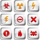 Warning  buttons. Warning  button set. Warning illustration Stock Photography