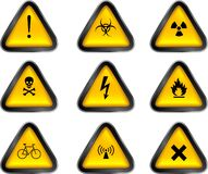 Warning Buttons. These are assorted warning Buttons Stock Image