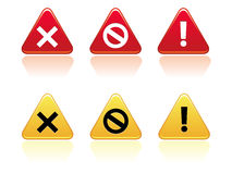 Warning Buttons EPS. Large triangular warning / error buttons in yellow and red with rounded edges. Reflection placed on separate layer for ease of use Royalty Free Stock Images
