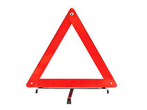 Warning car sign - red triangle stock photography