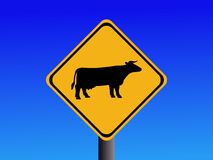 Warning cattle sign Stock Photo