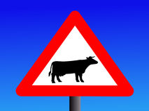 Warning cattle sign Stock Photos