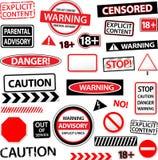 Warning caution explicated advisory  sign  Stock Photography