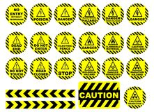 WARNING AND CAUTION SIGNS. Set of 22 Warning and caution sign containing different designs and element Royalty Free Stock Photography