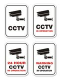 Warning CCTV in operation - warning signs Royalty Free Stock Photography