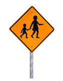 Warning Children Crossing - Australian Road Sign. Warning Children Crossing - Current Australian Road Sign (reflective) - Isolated on White Stock Image
