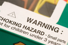 Warning: Choking Hazard Stock Photos