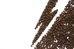 Warning of coffee harmful effect. Lightning from coffee beans isolated on white background. Healthy diet avoid caffeine. Recommendation art royalty free stock photos