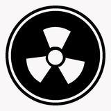 Warning colorless round sign of radiation on white Stock Photography