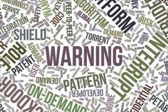 Warning, conceptual word cloud for business, information technology or IT. Warning, IT, information technology conceptual word cloud for for design wallpaper Stock Images