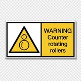 Symbol Warning counter rotating rollers sign label on transparent background royalty free illustration