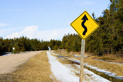 Warning of curvy road ahead.  Royalty Free Stock Photos