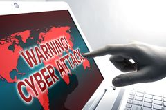 Warning cyber attack at network. Human finger on the Tablet PC with inscription warning cyber attack Stock Image